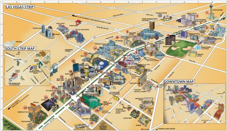 Mapa hotéis Vegas